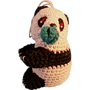 """Adorable 2-1/2"""" Vintage Crochet Panda Bear"""