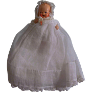 Adorable Painted All Bisque Baby with Pacifier in Lovely Christening Gown