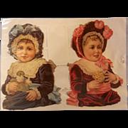 Vintage West German Victorian Die Cut Girls