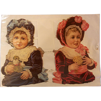 Vintage West German Victorian Die Cut Girls
