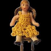 Teeny Tiny Carl Horn Doll in Yellow Crochet Dress