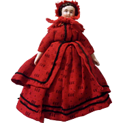 "Wonderful Antique 6"" Red Riding Hood China Head Dollhouse Doll"