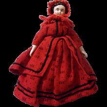 "Wonderful Antique 6"" Red Riding Hood China Head Dollhouse Doll"