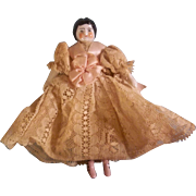 Sweetest Antique China Head Dollhouse Size Doll in Beautiful Lace Dress