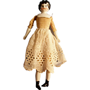 "Attractive 7.5"" Low Brow China Head Doll to Dress"
