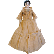 "Pretty 7.5"" Low Brow China Head Doll Dressed in Antique Skirt and Lace Jacket"