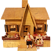 Teeny Tiny German Carl Horn All Bisque Doll Couple in Original Bavarian or Austrian Costumes