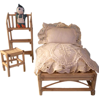 Wonderful Vintage Bamboo Bedroom Set for a Large Scale Dollhouse & Crochet Doll