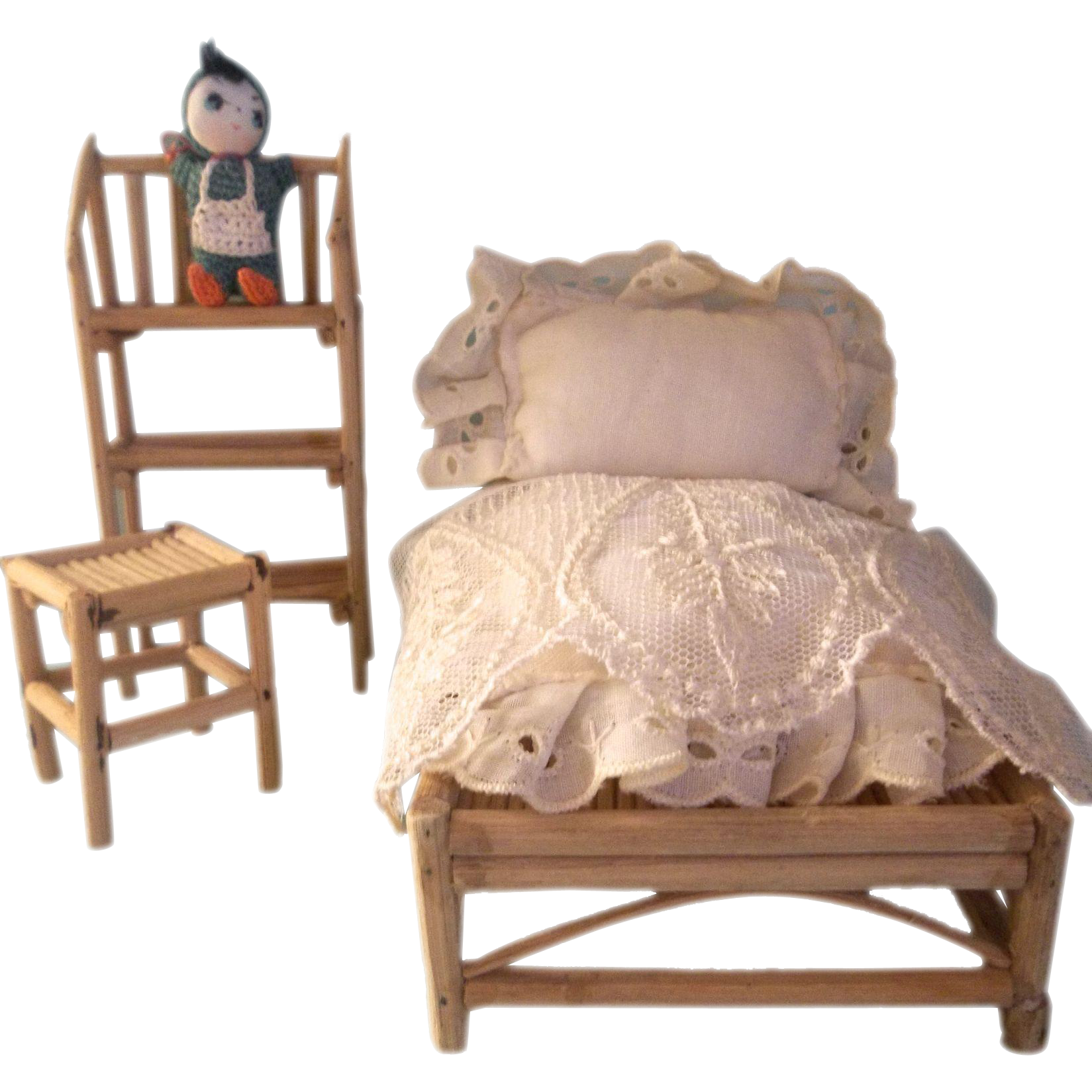 Wonderful Vintage Bamboo Bedroom Set For A Large Scale Dollhouse From Theplayfulspirit On Ruby