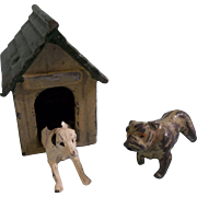 Wonderful Vintage Britains Lead Miniatures - 2 Dogs and a Doghouse