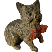Cute Painted Metal Cat with Red Bow - TLC