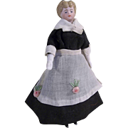 "Fabulous Antique German 4-1/2"" Maid Dollhouse Doll with Unusual Hairdo"