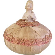Delightful Antique Porcelain Half Doll Pin Cushion