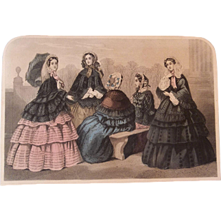 Lovely Godey's Steel Engraved Fashion Print c1858