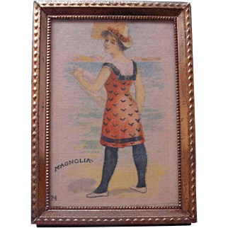 Lovely Framed Silk Bathing Beauty Picture for a Dollhouse