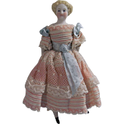 """Absolutely Stunning 5"""" Antique Parian Head Dollhouse Doll c1860"""