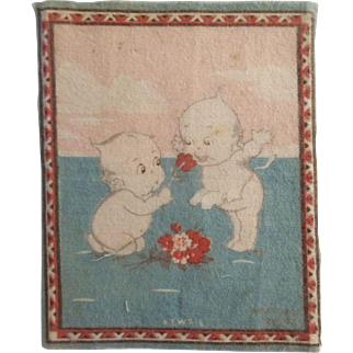 Kewpie Dollhouse Rug - 2 Kewpies with a Bouquet of Flowers c1914