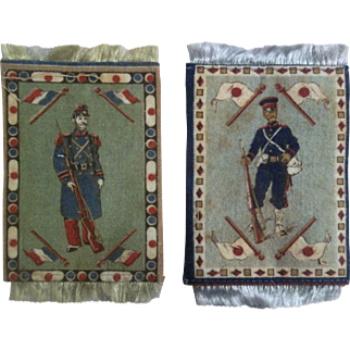 Wonderful WWI French Soldier Dollhouse Rug and Japanese Soldier Dollhouse Rug