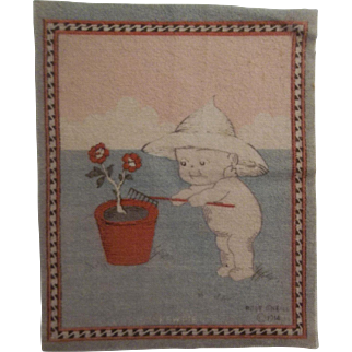 Adorable Kewpie Dollhouse Rug - Planting c1914