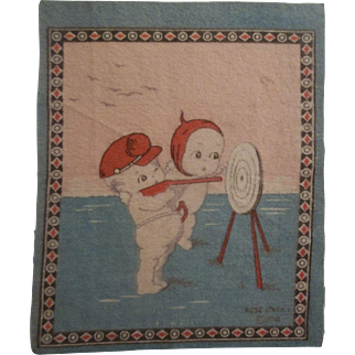 Cute Kewpie Dollhouse Rug - Kewpies at Target Practice c1914