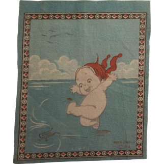 Precious Kewpie Dollhouse Rug - Joyful Kewpie Playing with a Frog c1914