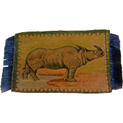 Wonderful Rhinoceros Tobacco Silk Dollhouse Rug - Hard to Find