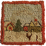 """Adorable Antique Hand Hooked 3-5/8"""" Square Dollhouse Rug - Houses with Red Border"""
