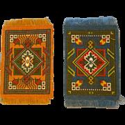 2 Pretty Little Antique Dollhouse Rugs c1900-1915