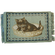 Precious Kitten in Basket Dollhouse Rug for your Doll House