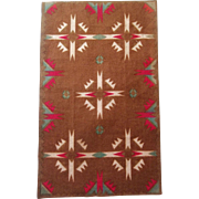 Lovely Brown Dollhouse Rug with Indian Pattern