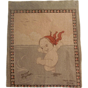 Adorable Dollhouse Rug - Kewpie Girl Playing with Frog