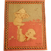 Adorable Dollhouse Rug - Boy Kewpie Balancing on Girl Kewpie