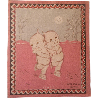Kewpie Dollhouse Rug - Kewpie Skating in the Moonlight c1914
