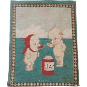 Kewpie Dollhouse Rug - Kewpie feeding his Sweetie Jam