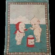 Kewpie Dollhouse Rug - Kewpie feeding his Sweetie Jam