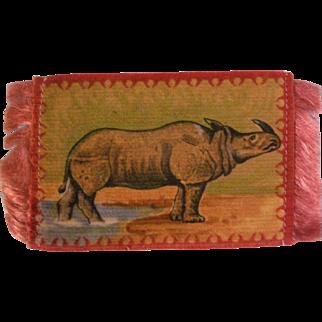 Dollhouse Rug with Rhinoceros - Tobacco Flannel Premium c1900