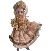 """Beautiful 2-1/2"""" SFBJ Antique All Bisque French Lilliputian Girl with boo boo foot"""