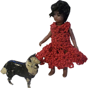 "All Bisque French Lilliputian 2-1/2"" Mulatto Girl with her Dog"