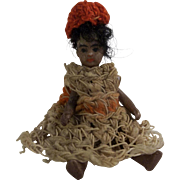 "Antique 2-1/2"" All Bisque SFBJ French Lilliputian Mulatto Girl in Crochet Dress and Beret"