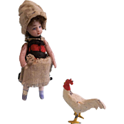 """2.5"""" French Farm Girl Lilliputian Doll TLC with Pet Rooster"""