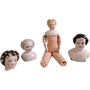 4 Small Antique China Doll Heads - TLC