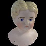Handsome Pink Tint Antique Parian Boy Shoulder Head