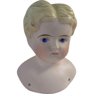Handsome Pink Tint Antique Parian Boy Shoulder Head
