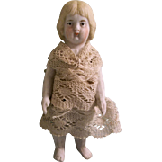 "Early Old White 3-3/8"" All Bisque German Doll in Antique Lace Dress"