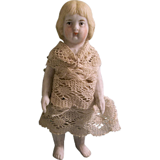 """Early Old White 3-3/8"""" All Bisque German Doll in Antique Lace Dress"""