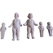 Adorable Tiny Antique Bisque Frozen Charlotte Family of 5