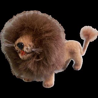 Adorable Vintage German Flocked Lion for your Little Dolls