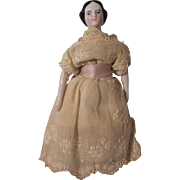 "Wonderful Early All Original 5-3/4"" Antique China Head Dollhouse Doll"
