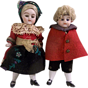 """Sweet Pair of 3-1/2"""" Kling All Bisque Dollhouse Dolls in Original Costumes"""