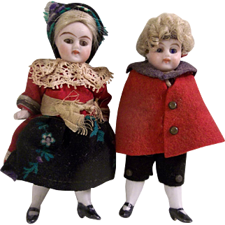 "Sweet Pair of 3-1/2"" Kling All Bisque Dollhouse Dolls in Original Costumes"